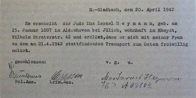 Erklärung Heymanns bei der Gestapo 1942