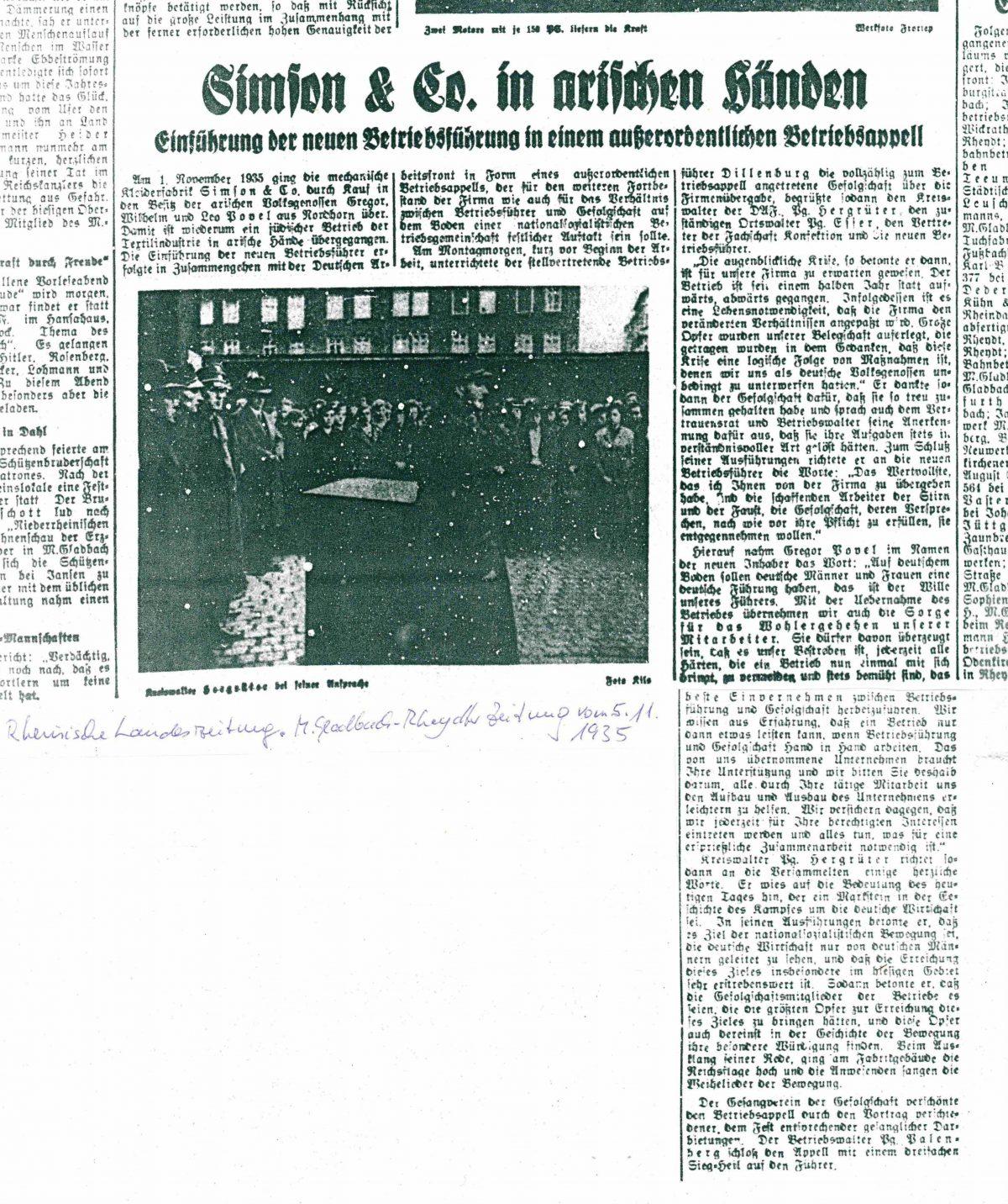 Bericht über Arisierung in einer Zeitung vom 05.11.1935